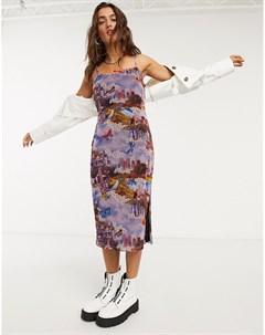 Сетчатое платье комбинация миди с принтом Фиолетовый Vintage supply