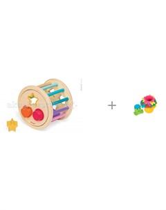 Сортер Колесо с фигурами и Развивающая игрушка Maman Пирамидка 9055 Janod