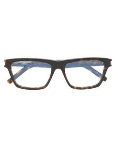 Квадратные черепаховые очки Saint laurent eyewear