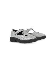 туфли с блестками и Т образной пряжкой Burberry kids