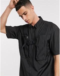 Черная рубашка в стиле милитари с 3D карманами Черный Asos white