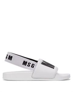 шлепанцы с логотипом и ремешком на пятке Msgm