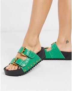Зеленые кожаные шлепанцы с эффектом крокодиловой кожи Зеленый Kurt geiger london