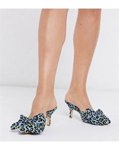 Мюли на каблуке для широкой стопы с леопардовым принтом и бантами Co wren