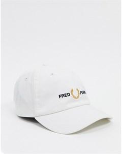 Белая кепка с принтом Белый Fred perry