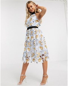 Кружевное платье для выпускного с цветочным принтом Chi chi london