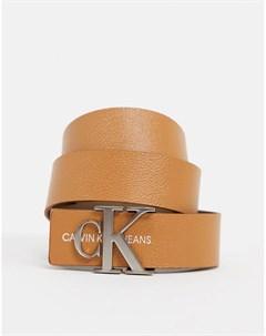 Светло коричневый ремень с логотипом Бежевый Calvin klein jeans