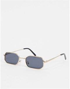 Золотистые солнцезащитные очки в прямоугольной оправе Золотой New look