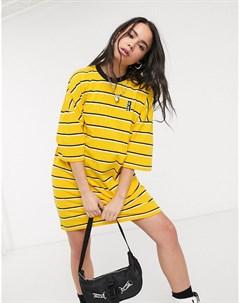 Желтое свободное платье футболка в полоску The ragged priest