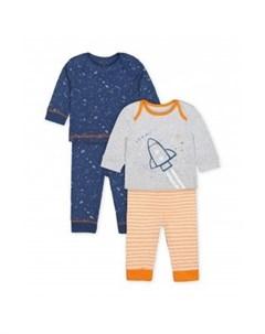Пижама Космос 2 шт синий серый оранжевый Mothercare