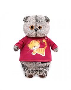 Мягкая игрушка Басик в футболке с принтом Тигренок 25 см Budi basa