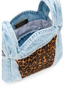 Джинсовая сумка тоут с леопардовым принтом Simonetta ravizza