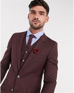 Приталенный бордовый пиджак wedding Asos design