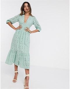 Шалфейно зеленое платье миди с вышивкой ришелье и веревочной шнуровкой на спине Asos design