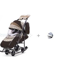 Санки коляска Скандинавия с меховой накладкой на козырек Pikate