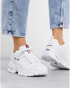 Белые кроссовки на массивной подошве Skechers