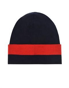 Темно синяя шапка с логотипом на отвороте Moncler