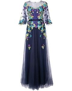 Платье с цветочной аппликацией Marchesa notte