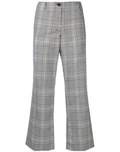 Укороченные расклешенные брюки в клетку Aalto