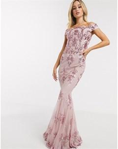 Розовое платье с открытыми плечами и пайетками Goddiva