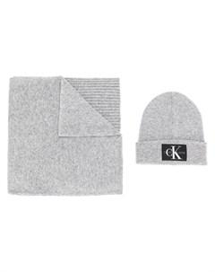 комплект из шапки бини и шарфа Calvin klein