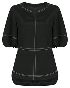 Блузка с объемными рукавами и декоративной строчкой Goen.j