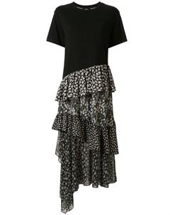 Платье футболка асимметричного кроя с оборками Goen.j