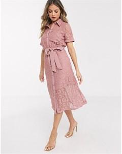 Розовое кружевное платье рубашка Paper dolls