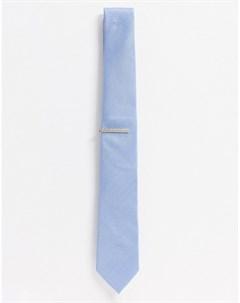 Голубой галстук и зажим для галстука Topman