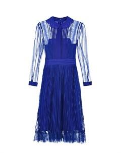 Синее платье с плиссированным кружевом Self-portrait