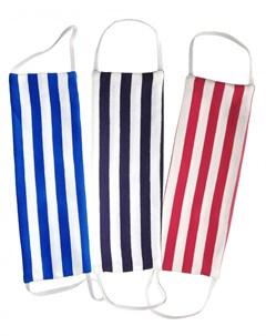 Набор масок многоразовых с карманом для фильтра полоска черно белая сине белая красно белая 3 шт Aglae michon