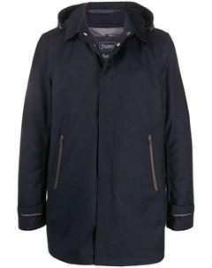 Пальто с потайной застежкой и капюшоном Herno