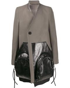Двубортное пальто с контрастными вставками Rick owens