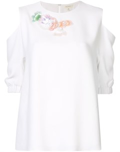 Блузка с цветочной аппликацией Delpozo