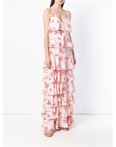 Платье с принтом и оборками Borgo de nor