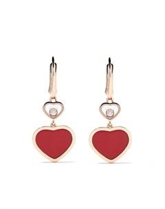 Серьги подвески Happy Hearts из розового золота с бриллиантами Chopard