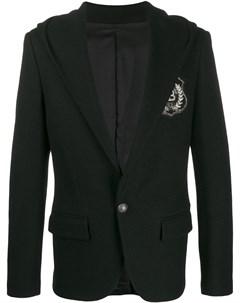 Пиджак с капюшоном и нашивкой логотипом Balmain