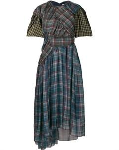 Платье миди асимметричного кроя с оборками Preen by thornton bregazzi