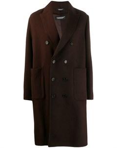 Двубортное пальто с контрастной вставкой Undercover