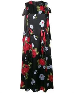 Платье с цветочным принтом и лентами Simone rocha
