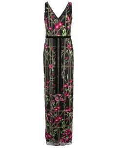 Длинное платье с вышивкой бисером Marchesa notte