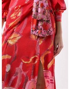 Расклешенное платье миди с цветочным принтом Peter pilotto