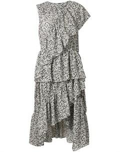 Платье асимметричного кроя с цветочным принтом и оборками Goen.j