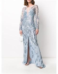 Платье с пайетками и V образным вырезом Zuhair murad