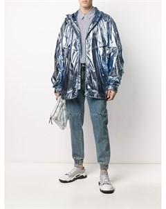 Комплект из блестящей куртки и зауженных джинсов Juun.j