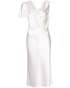 Шелковое платье миди асимметричного кроя Fleur du mal