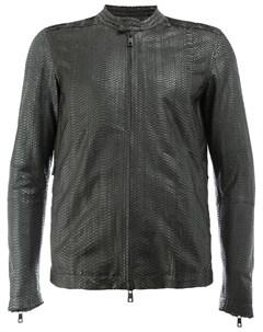 Кожаная куртка с эффектом змеиной кожи Giorgio brato