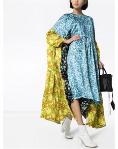 Платье миди с асимметричным подолом и цветочным принтом Vetements