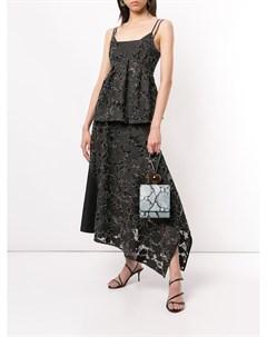 Джинсовая юбка асимметричного кроя с кружевом Goen.j