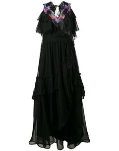 Многоярусное платье с вышивкой Alberta ferretti